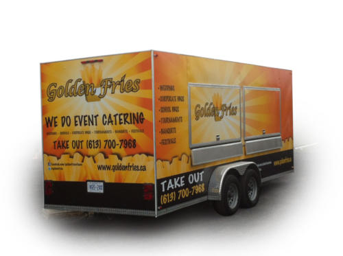 Full view of trailer with previous wrap